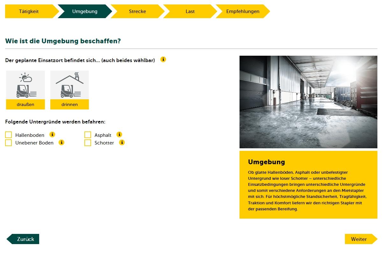 Produktselektor Jungheinrich für Mietstapler