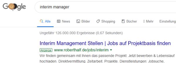 126 000 000 Ergebnisse bei Google Suche auf Interim Manager