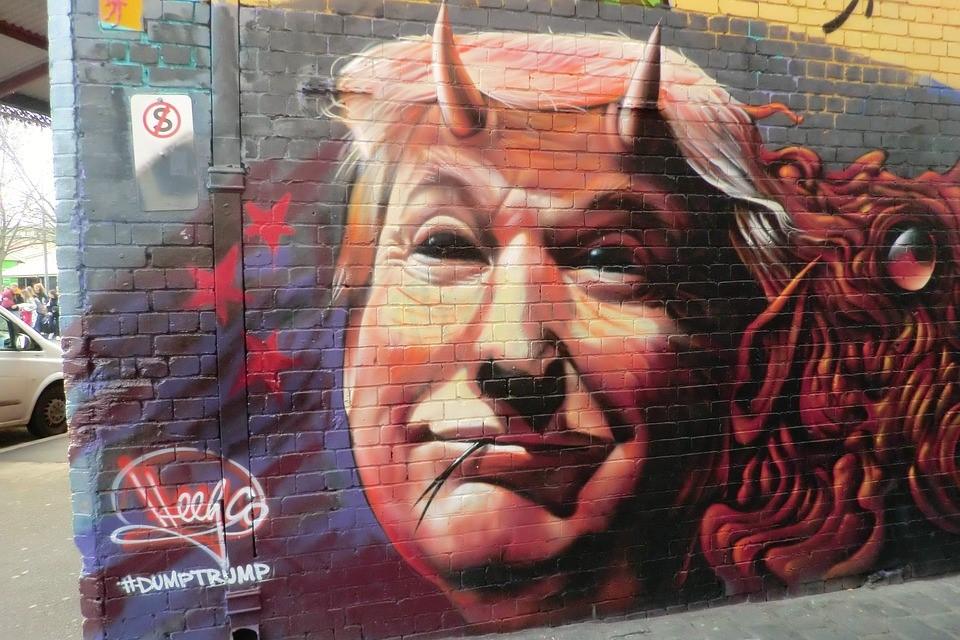 Trump-Fehler: Ein Graffiti mit Trump als Teufel