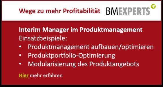 Interim Manager im Produktmanagement Einsatzbeispiele: Produktmanagement aufbauen/optimieren Produktportfolio-Optimierung Modularisierung des Produktangebots